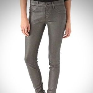 J Brand Super Skinny Coated Gray Jeans Leggings 28